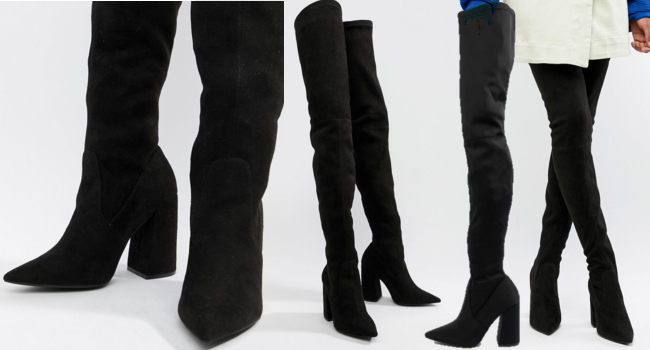 very long black thigh high boots with block heels and pointed toe second skin type over the knee