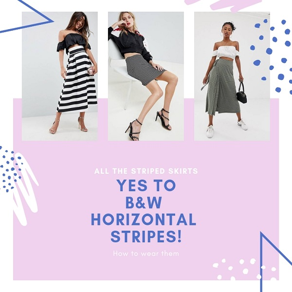 how to wear horizontal black and white stripe skirts