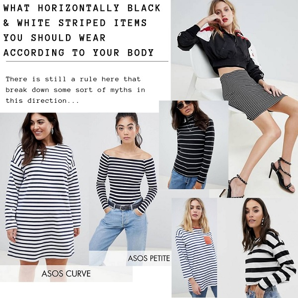 how to wear black and white horizontal stripe clothes according to your body shape