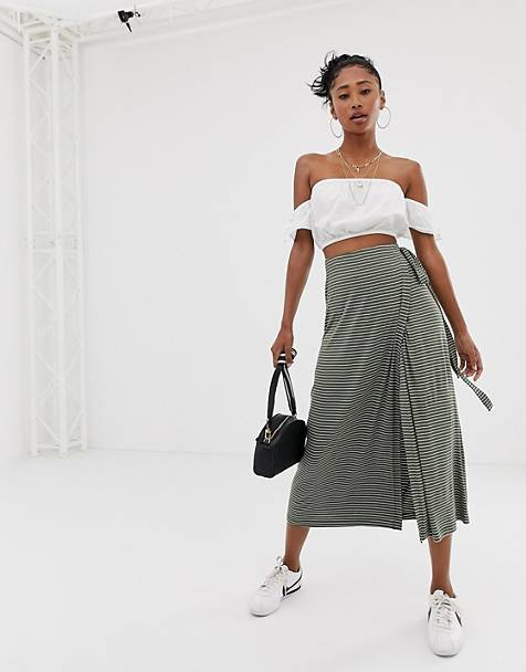 wrap midi skirt in black and white horizontal stripe print